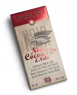 "Chocolat Stella ""Noir Cacoa 72% & Nibs"""