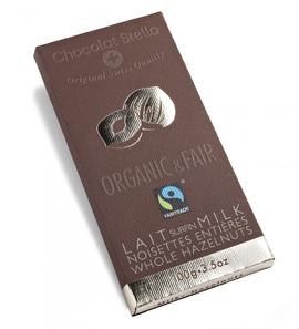 "Chocolat Stella ""Milk- Hazelnuts"" Organic & Fair Trade"
